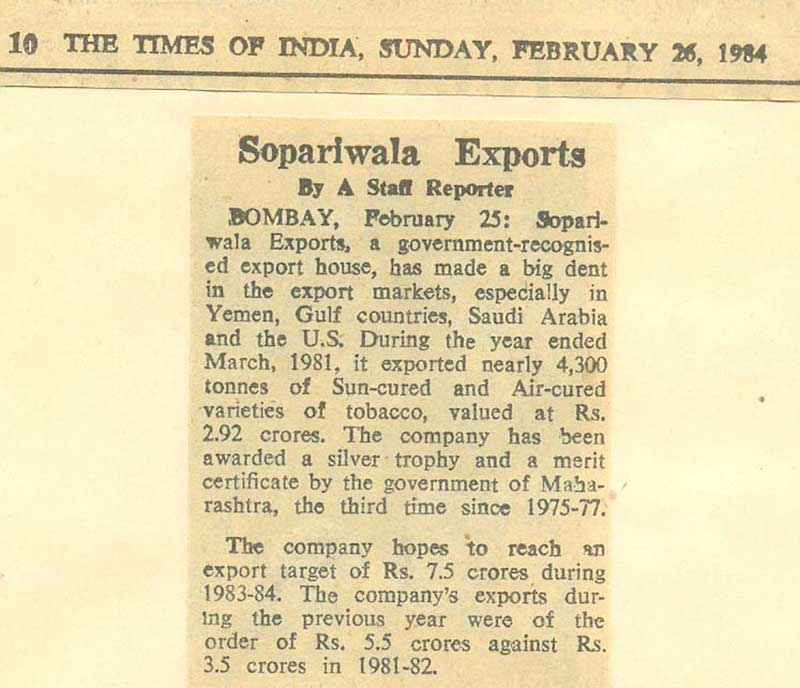 Sopariwala Exports In News