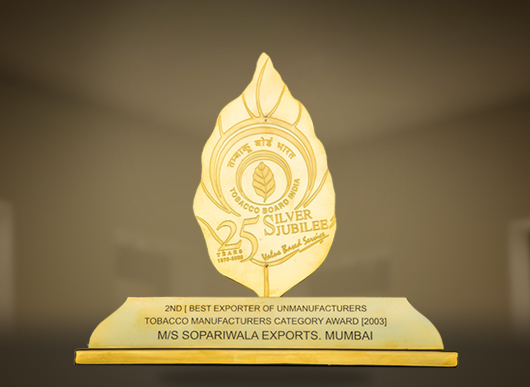 Award for 2nd Best Exporter of Unmanufacturers Tobacco Manufacturers Category 2003