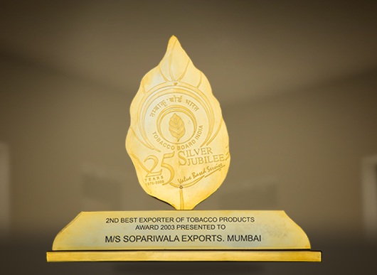 Award from Tobacco Board of India 2nd Best Exporter of Tobacco Products 2003